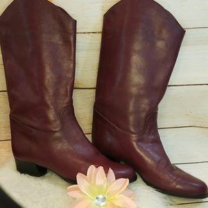 Ruggeri burgundy red slip on soft leather boots